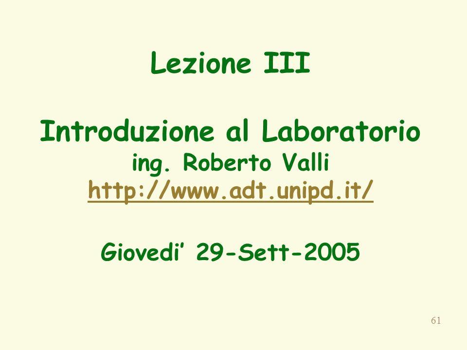 61 Lezione III Introduzione al Laboratorio ing.