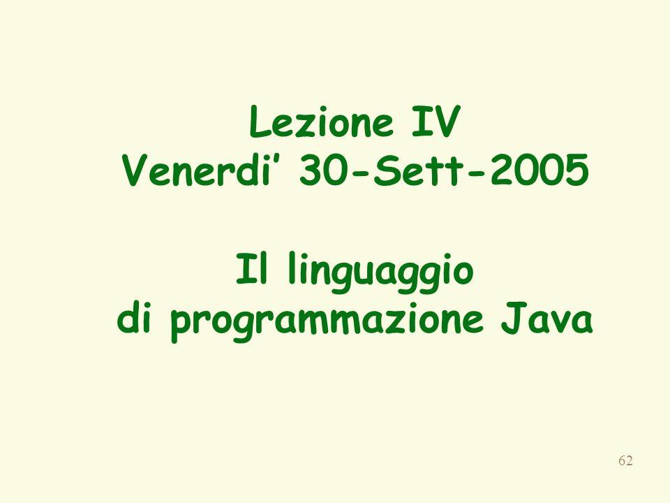 62 Lezione IV Venerdi 30-Sett-2005 Il linguaggio di programmazione Java