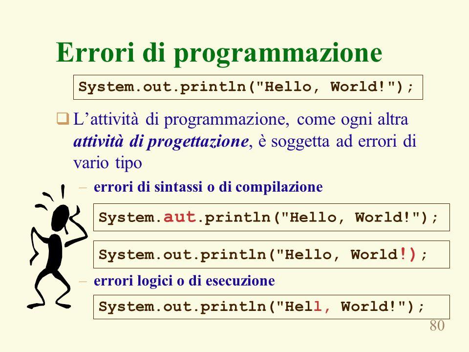 80 Errori di programmazione Lattività di programmazione, come ogni altra attività di progettazione, è soggetta ad errori di vario tipo –errori di sintassi o di compilazione –errori logici o di esecuzione System.