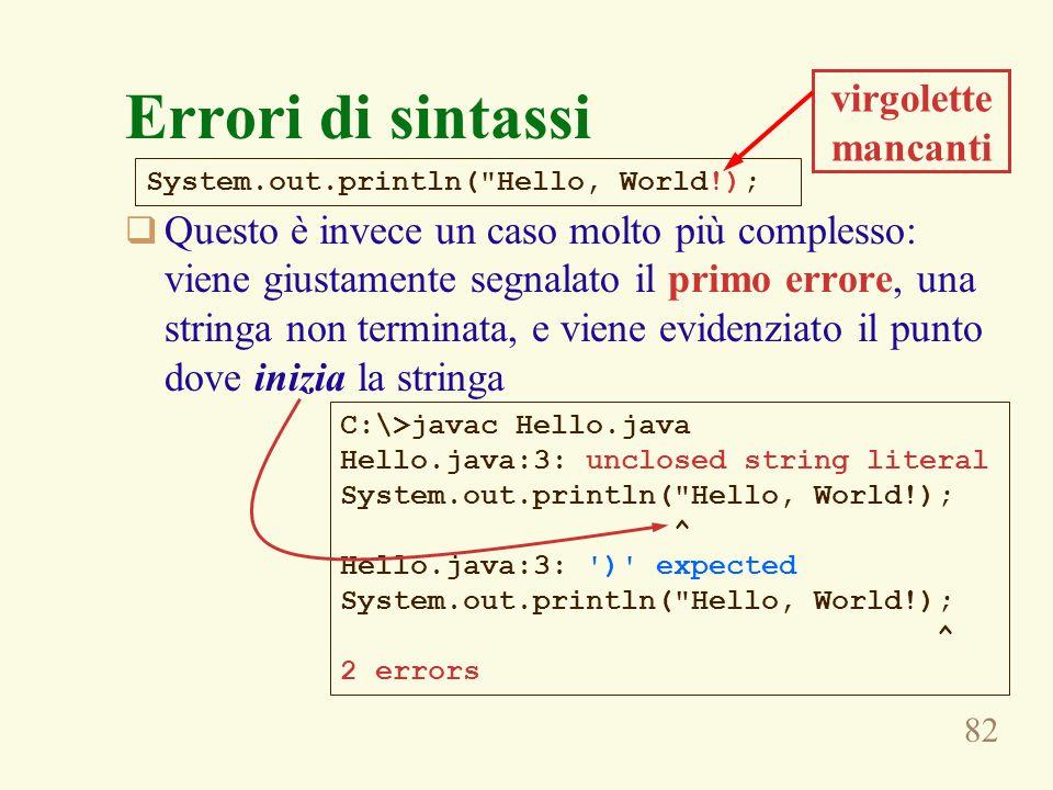 82 Errori di sintassi Questo è invece un caso molto più complesso: viene giustamente segnalato il primo errore, una stringa non terminata, e viene evidenziato il punto dove inizia la stringa System.out.println( Hello, World!); C:\>javac Hello.java Hello.java:3: unclosed string literal System.out.println( Hello, World!); ^ Hello.java:3: ) expected System.out.println( Hello, World!); ^ 2 errors virgolette mancanti