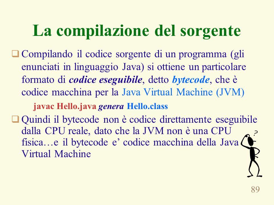 89 La compilazione del sorgente Compilando il codice sorgente di un programma (gli enunciati in linguaggio Java) si ottiene un particolare formato di codice eseguibile, detto bytecode, che è codice macchina per la Java Virtual Machine (JVM) javac Hello.java genera Hello.class Quindi il bytecode non è codice direttamente eseguibile dalla CPU reale, dato che la JVM non è una CPU fisica…e il bytecode e codice macchina della Java Virtual Machine