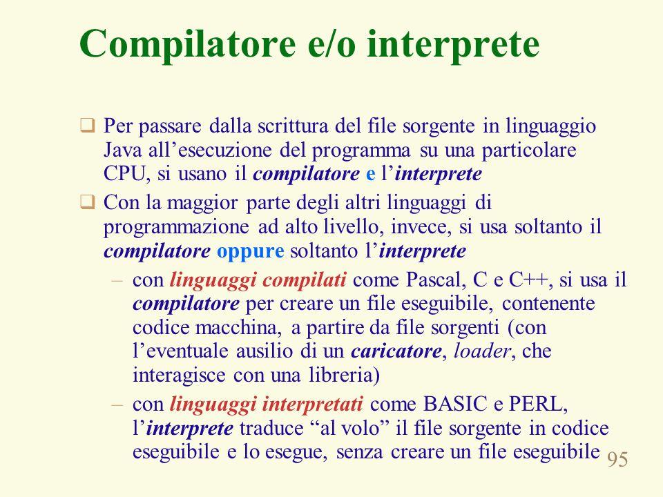 95 Compilatore e/o interprete Per passare dalla scrittura del file sorgente in linguaggio Java allesecuzione del programma su una particolare CPU, si usano il compilatore e linterprete Con la maggior parte degli altri linguaggi di programmazione ad alto livello, invece, si usa soltanto il compilatore oppure soltanto linterprete –con linguaggi compilati come Pascal, C e C++, si usa il compilatore per creare un file eseguibile, contenente codice macchina, a partire da file sorgenti (con leventuale ausilio di un caricatore, loader, che interagisce con una libreria) –con linguaggi interpretati come BASIC e PERL, linterprete traduce al volo il file sorgente in codice eseguibile e lo esegue, senza creare un file eseguibile