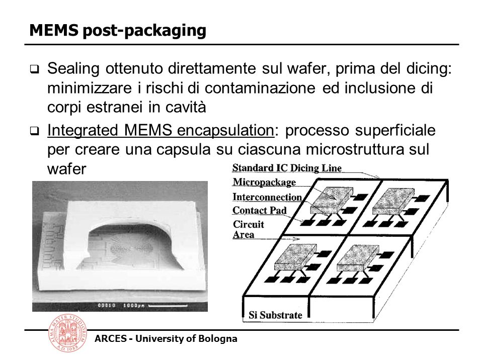 ARCES - University of Bologna MEMS post-packaging by global heating PSG (phosphorous-doped glass) depositato (thick and thin) e definito tramite wet etching (buffered HF); low stress silicon nitride microshell, con plasma etched holes; concentrated HF etching of PSG; CO 2 drying; LPCVD low stress nitride deposition for sealing