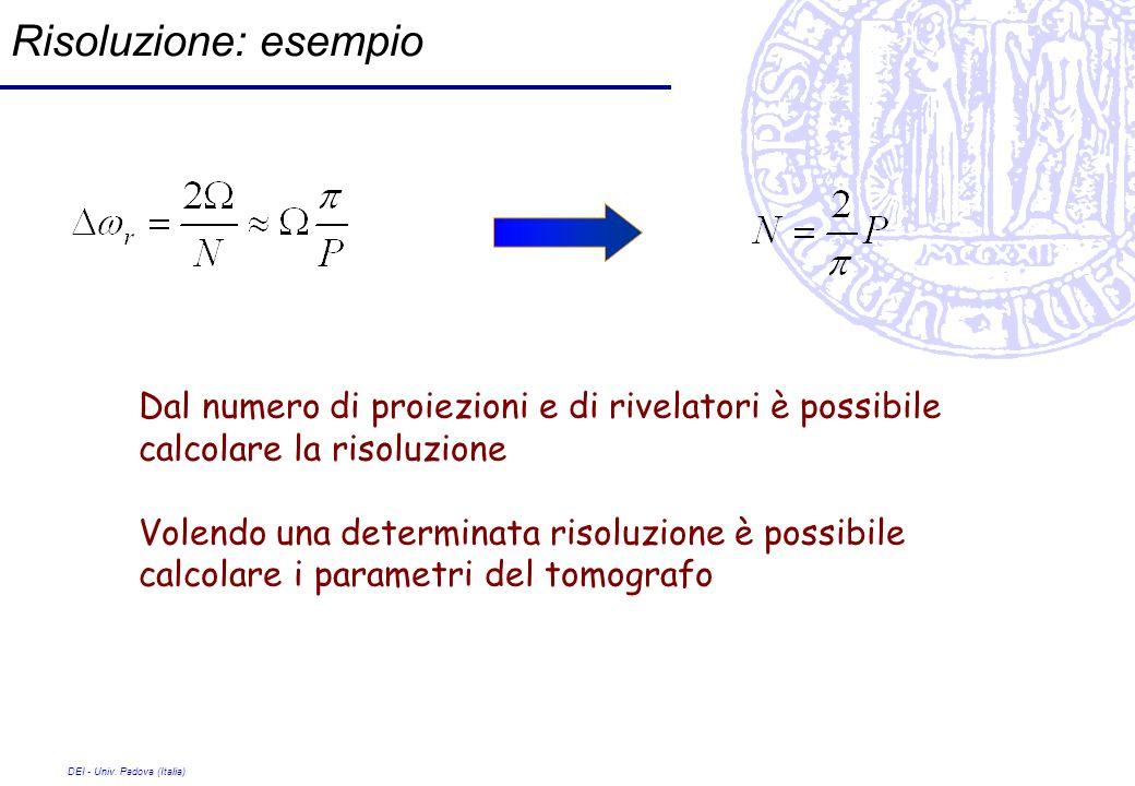 DEI - Univ. Padova (Italia) Risoluzione: esempio Dal numero di proiezioni e di rivelatori è possibile calcolare la risoluzione Volendo una determinata