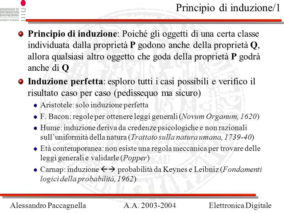 Alessandro PaccagnellaA.A. 2003-2004Elettronica Digitale Principio di induzione/1 Principio di induzione: Poiché gli oggetti di una certa classe indiv