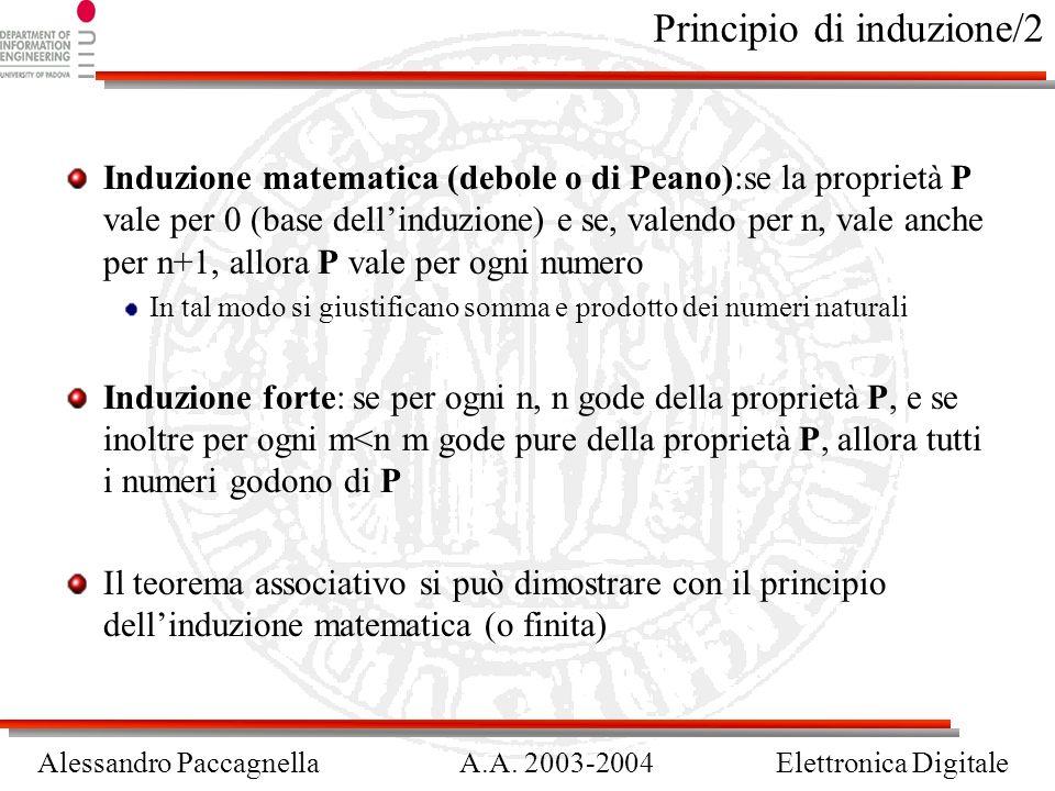 Alessandro PaccagnellaA.A. 2003-2004Elettronica Digitale Principio di induzione/2 Induzione matematica (debole o di Peano):se la proprietà P vale per