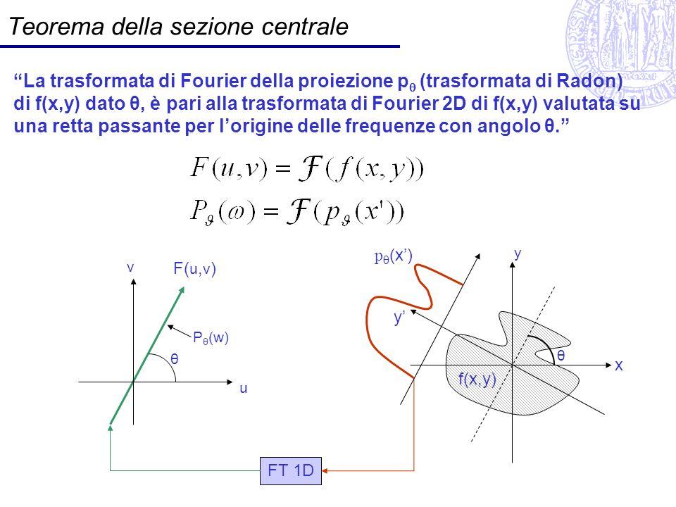 Teorema della sezione centrale La trasformata di Fourier della proiezione p (trasformata di Radon) di f(x,y) dato θ, è pari alla trasformata di Fourie