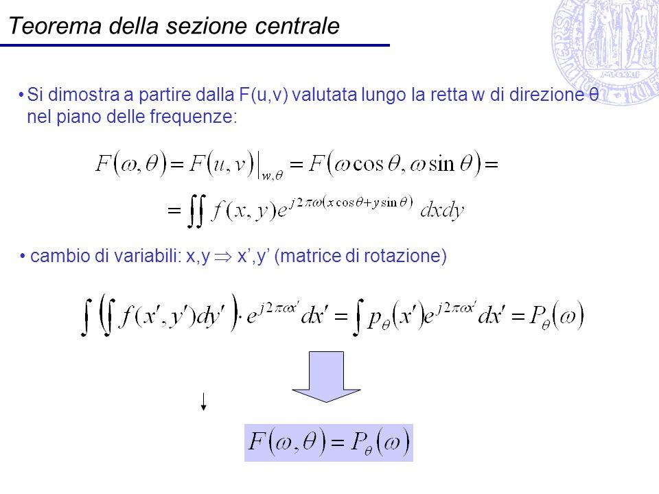 Teorema della sezione centrale Si dimostra a partire dalla F(u,v) valutata lungo la retta w di direzione θ nel piano delle frequenze: cambio di variab