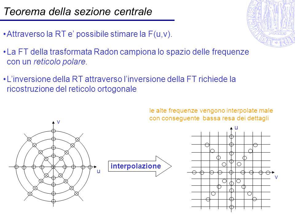 Teorema della sezione centrale Attraverso la RT e possibile stimare la F(u,v). La FT della trasformata Radon campiona lo spazio delle frequenze con un