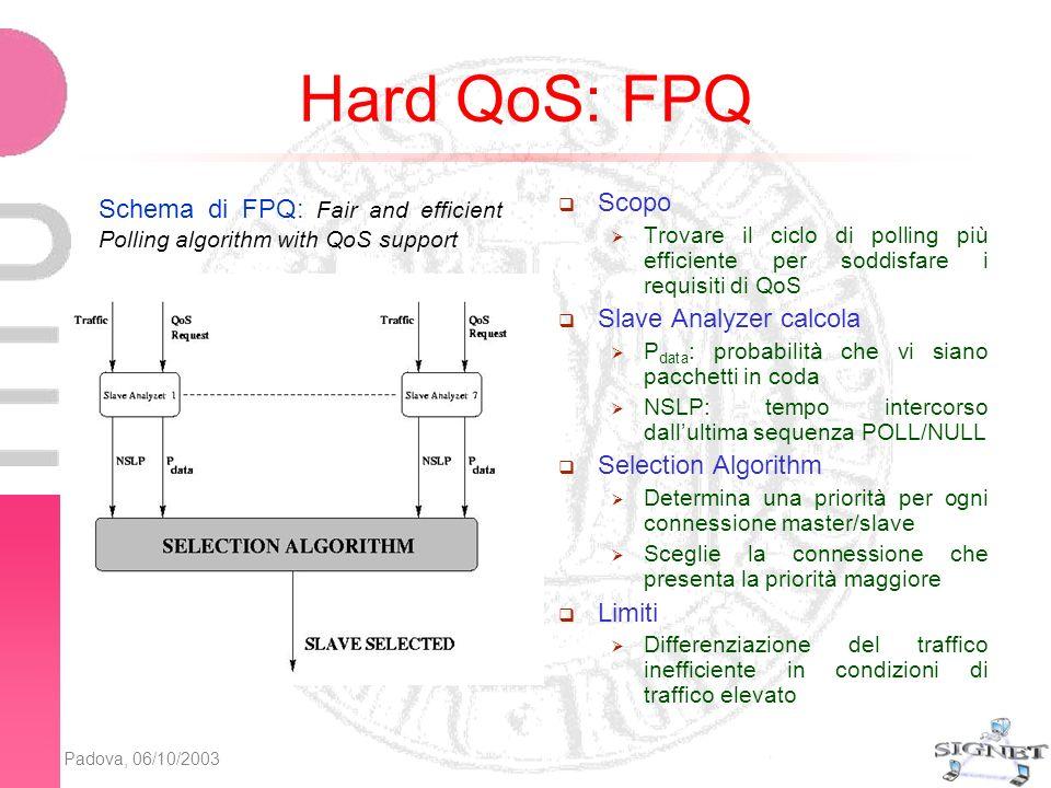 Padova, 06/10/2003 Algoritmo Soft-FPQ Soft-FPQ (SFPQ): algoritmo di scheduling per il supporto della Soft QoS in Bluetooth Definizione di un nuovo parametro di Soft QoS: Soddisfazione desiderata : percentuale di pacchetti che soddisfano i requisiti di QoS rispetto a quelli totali Utilizzo di una stima dinamica della soddisfazione percepita da un flusso informativo: La priorità di un flusso informativo dipenderà da: Caratteristiche del traffico prodotto Parametri di QoS Margine di soddisfazione stimato: