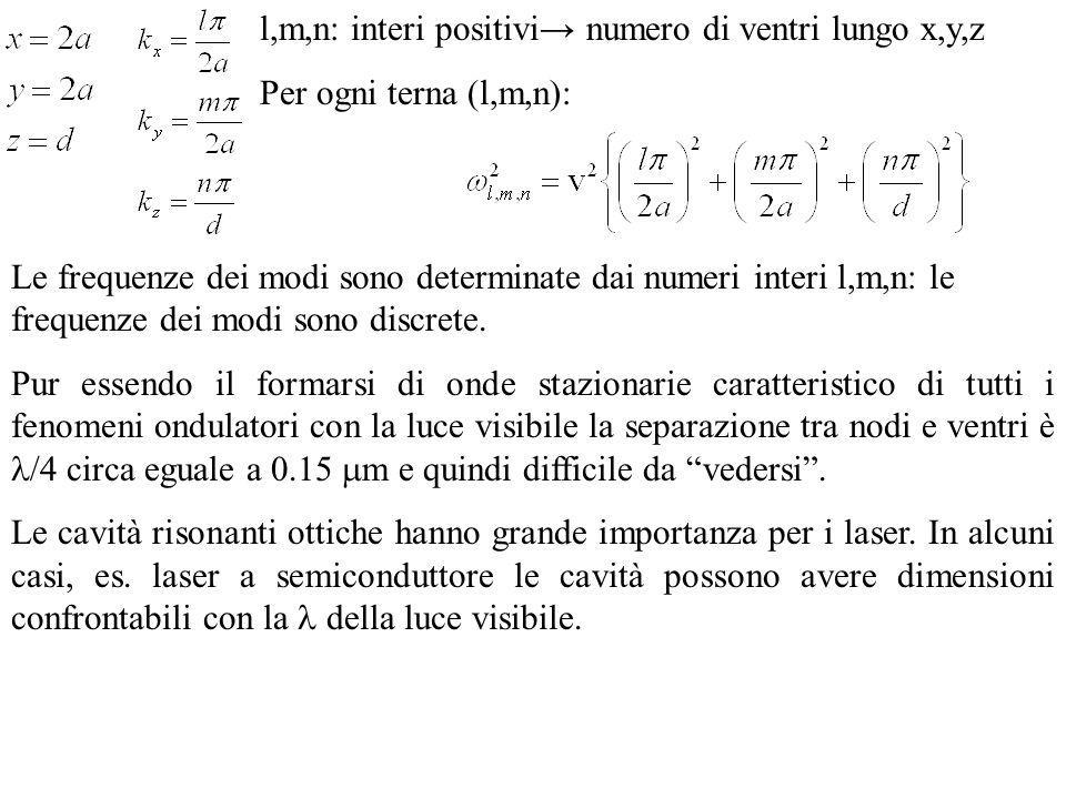 l,m,n: interi positivi numero di ventri lungo x,y,z Per ogni terna (l,m,n): Le frequenze dei modi sono determinate dai numeri interi l,m,n: le frequen