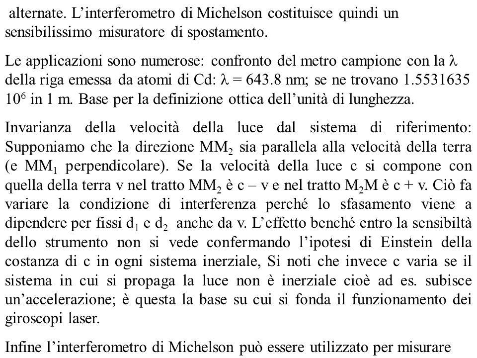 alternate. Linterferometro di Michelson costituisce quindi un sensibilissimo misuratore di spostamento. Le applicazioni sono numerose: confronto del m