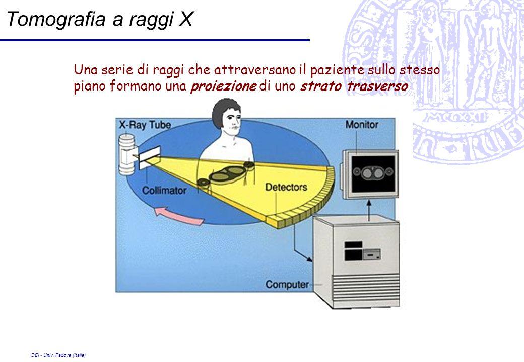 DEI - Univ. Padova (Italia) Tomografia a raggi X Una serie di raggi che attraversano il paziente sullo stesso piano formano una proiezione di uno stra