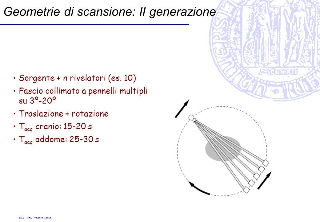 DEI - Univ. Padova (Italia) Geometrie di scansione: II generazione Sorgente + n rivelatori (es. 10) Fascio collimato a pennelli multipli su 3º-20º Tra