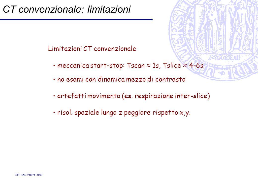 DEI - Univ. Padova (Italia) CT convenzionale: limitazioni Limitazioni CT convenzionale meccanica start-stop: Tscan 1s, Tslice 4-6s no esami con dinami
