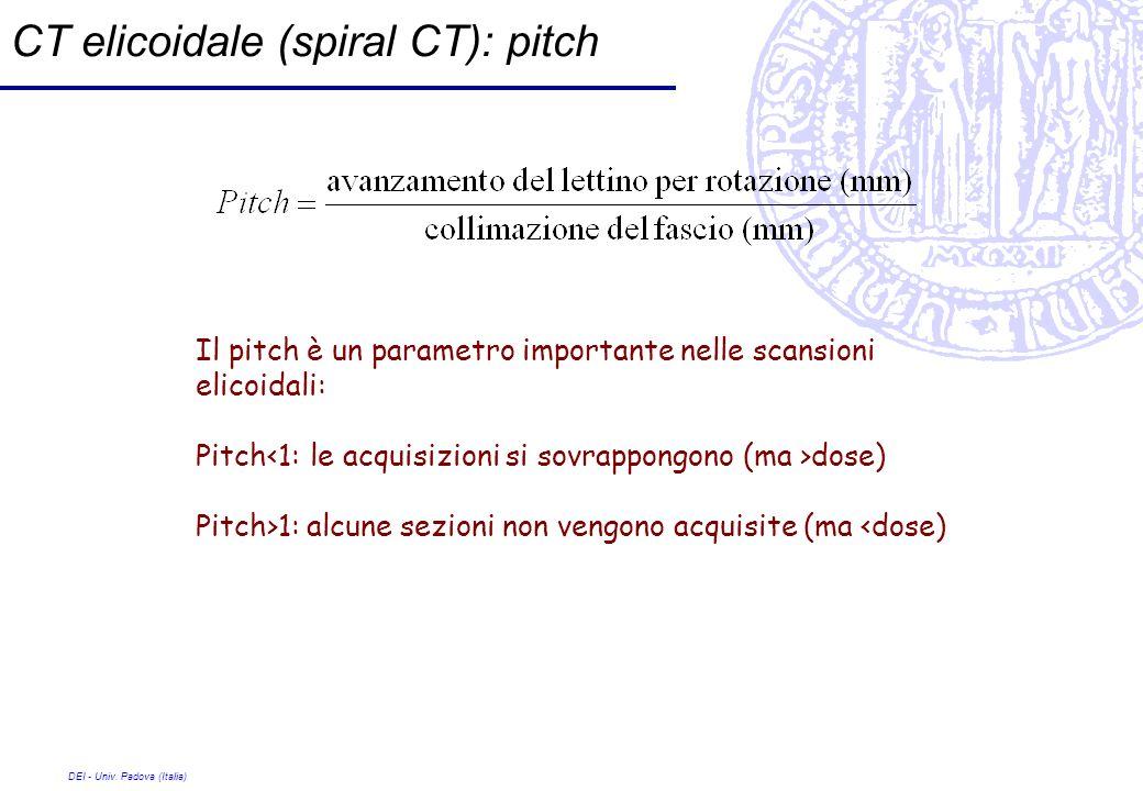DEI - Univ. Padova (Italia) CT elicoidale (spiral CT): pitch Il pitch è un parametro importante nelle scansioni elicoidali: Pitch dose) Pitch>1: alcun