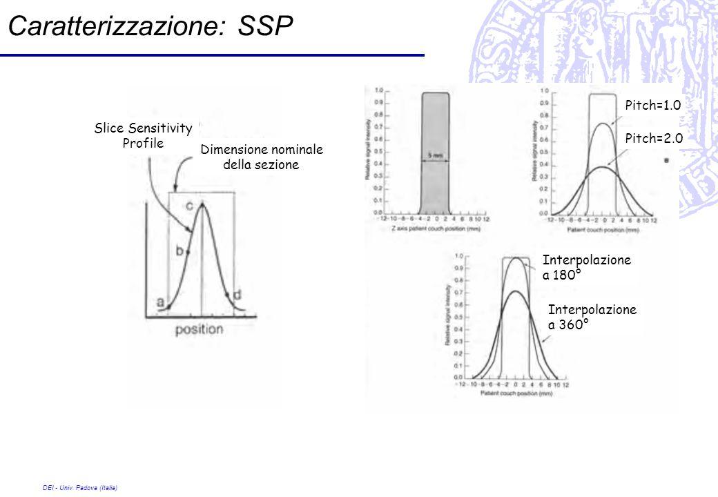 DEI - Univ. Padova (Italia) Caratterizzazione: SSP Pitch=1.0 Pitch=2.0 Interpolazione a 180° Interpolazione a 360° Dimensione nominale della sezione S