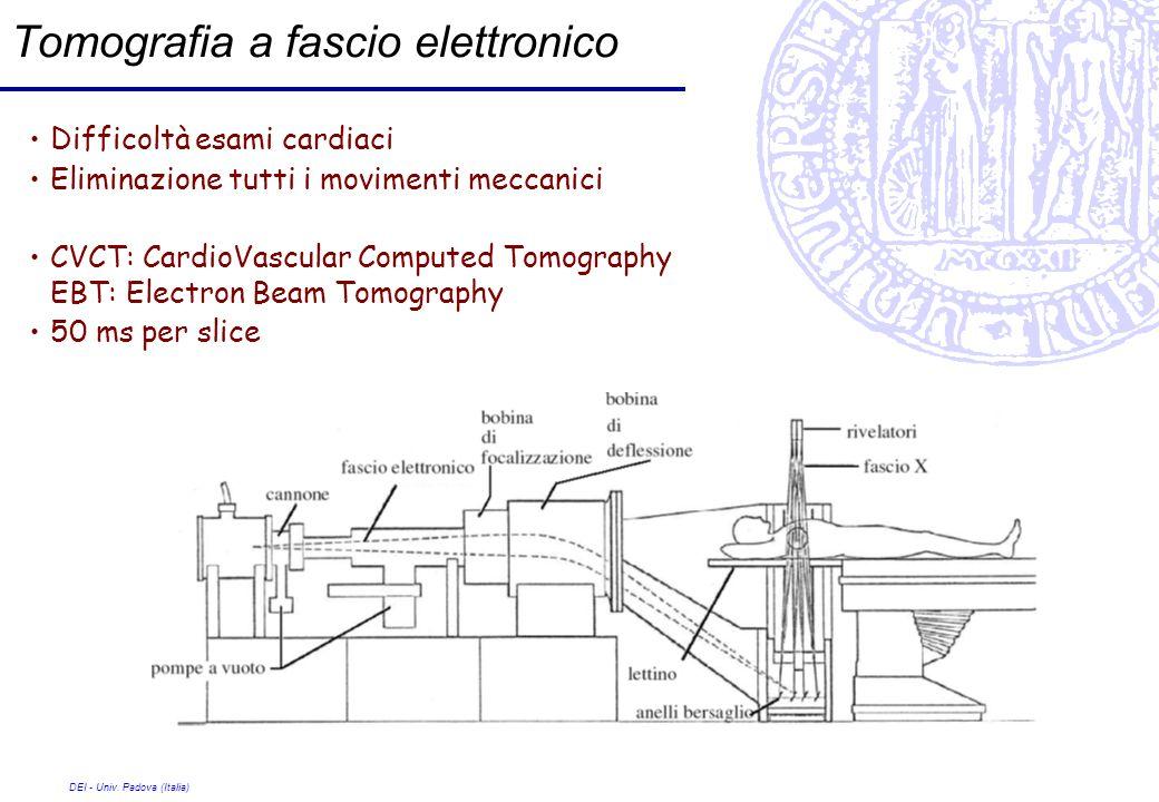 DEI - Univ. Padova (Italia) Tomografia a fascio elettronico Difficoltà esami cardiaci Eliminazione tutti i movimenti meccanici CVCT: CardioVascular Co