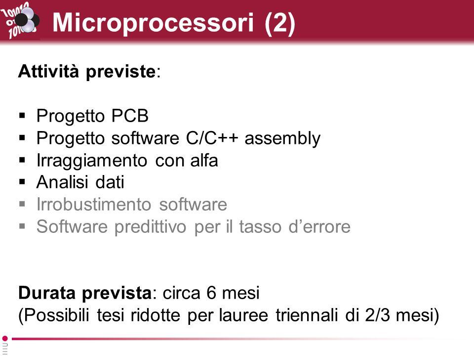 Microprocessori (2) Attività previste: Progetto PCB Progetto software C/C++ assembly Irraggiamento con alfa Analisi dati Irrobustimento software Software predittivo per il tasso derrore Durata prevista: circa 6 mesi (Possibili tesi ridotte per lauree triennali di 2/3 mesi)