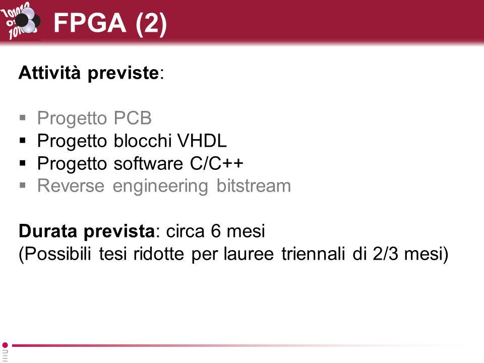 FPGA (2) Attività previste: Progetto PCB Progetto blocchi VHDL Progetto software C/C++ Reverse engineering bitstream Durata prevista: circa 6 mesi (Po