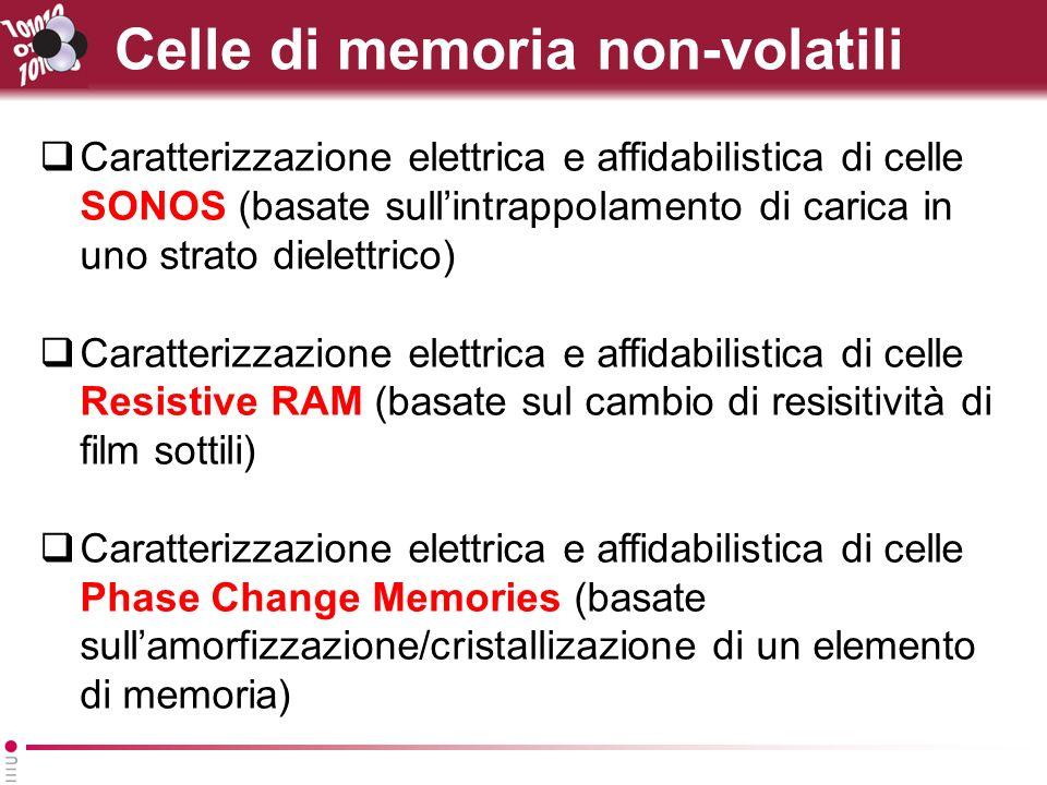 Celle di memoria non-volatili Caratterizzazione elettrica e affidabilistica di celle SONOS (basate sullintrappolamento di carica in uno strato dielettrico) Caratterizzazione elettrica e affidabilistica di celle Resistive RAM (basate sul cambio di resisitività di film sottili) Caratterizzazione elettrica e affidabilistica di celle Phase Change Memories (basate sullamorfizzazione/cristallizazione di un elemento di memoria)