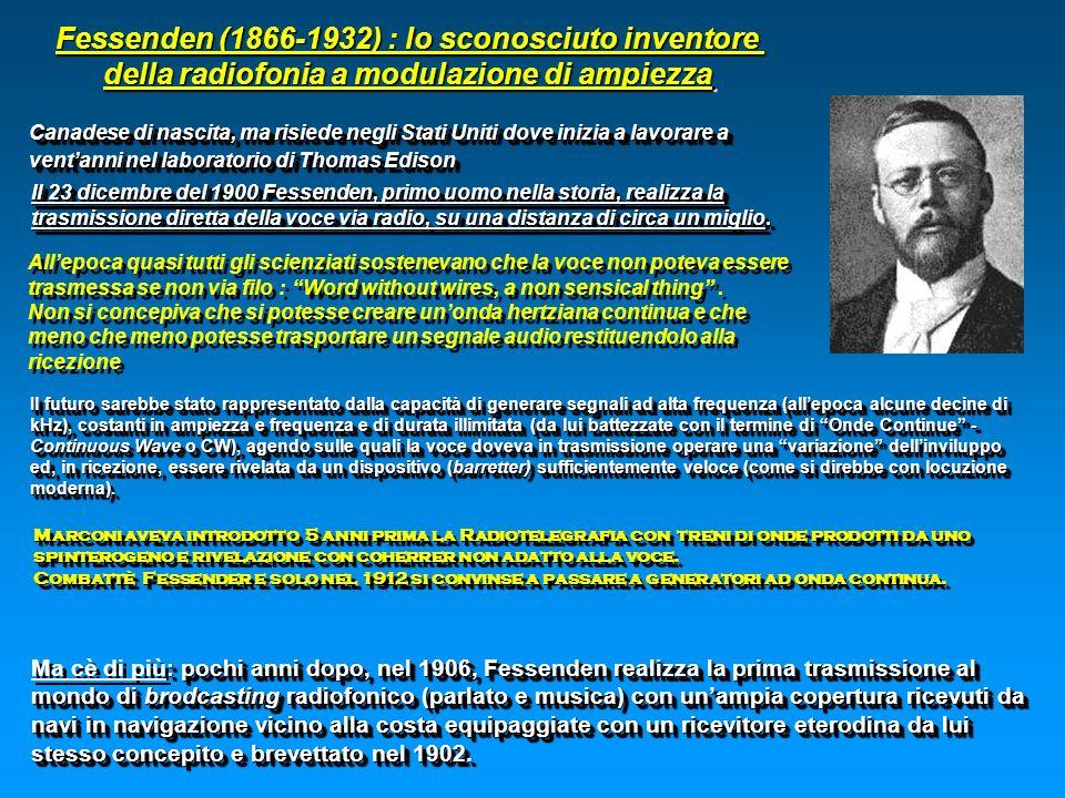 Fessenden (1866-1932) : lo sconosciuto inventore della radiofonia a modulazione di ampiezza Canadese di nascita, ma risiede negli Stati Uniti dove ini