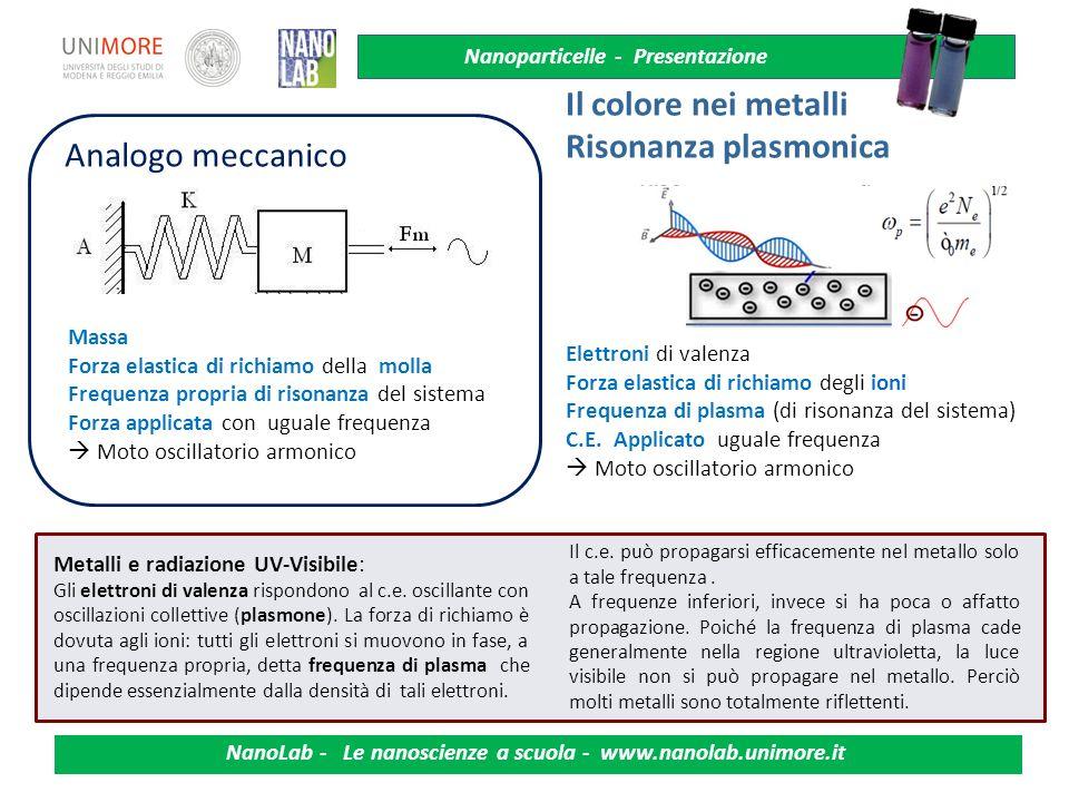 Nanoparticelle - Presentazione NanoLab - Le nanoscienze a scuola - www.nanolab.unimore.it Analogo meccanico Il colore nei metalli Risonanza plasmonica Massa Forza elastica di richiamo della molla Frequenza propria di risonanza del sistema Forza applicata con uguale frequenza Moto oscillatorio armonico Elettroni di valenza Forza elastica di richiamo degli ioni Frequenza di plasma (di risonanza del sistema) C.E.
