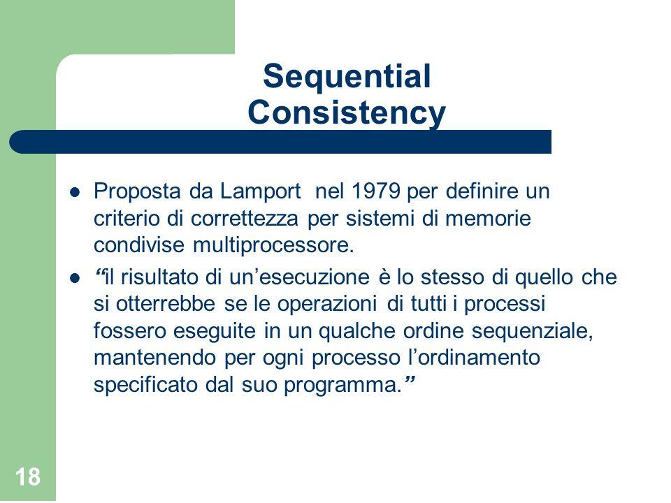 18 Sequential Consistency Proposta da Lamport nel 1979 per definire un criterio di correttezza per sistemi di memorie condivise multiprocessore. il ri