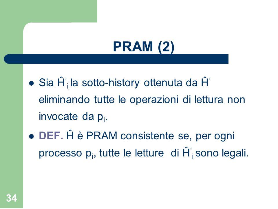 34 PRAM (2) Sia Ĥ i la sotto-history ottenuta da Ĥ eliminando tutte le operazioni di lettura non invocate da p i. DEF. Ĥ è PRAM consistente se, per og