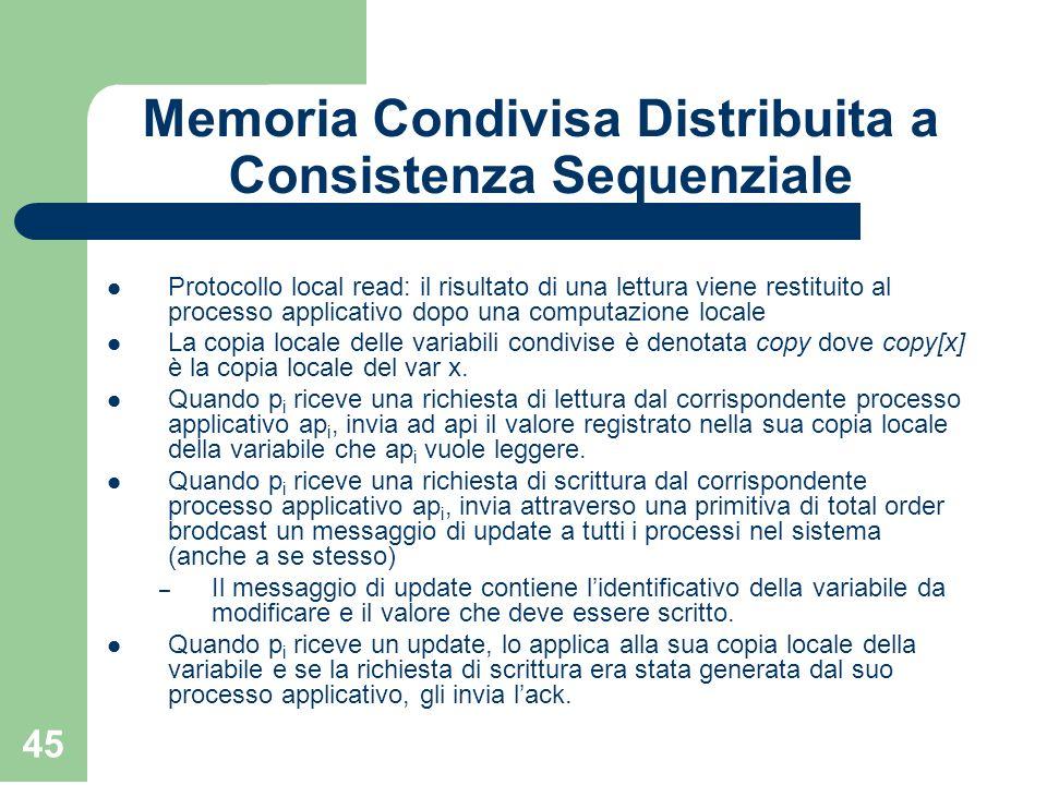 45 Memoria Condivisa Distribuita a Consistenza Sequenziale Protocollo local read: il risultato di una lettura viene restituito al processo applicativo