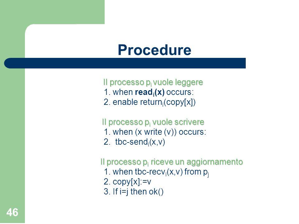 46 Procedure Il processo p i vuole leggere 1. when read i (x) occurs: 2. enable return i (copy[x]) Il processo p i vuole scrivere 1. when (x write (v)