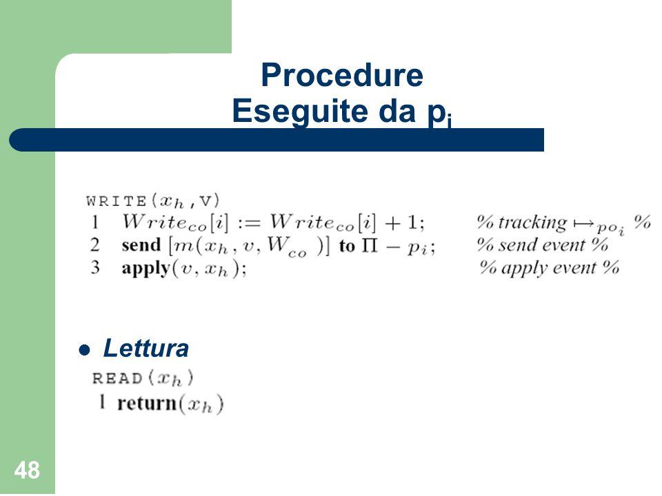 48 Procedure Eseguite da p i Scrittura Lettura
