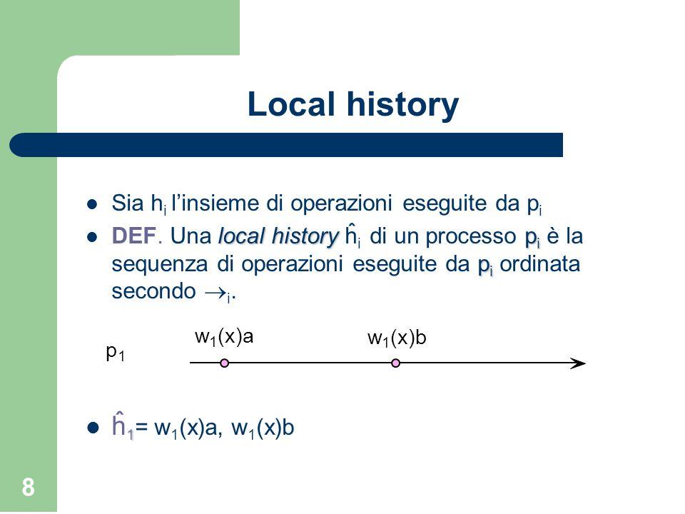 8 Local history Sia h i linsieme di operazioni eseguite da p i local historyp i p i DEF. Una local history ĥ i di un processo p i è la sequenza di ope