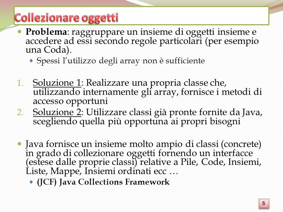 Problema : raggruppare un insieme di oggetti insieme e accedere ad essi secondo regole particolari (per esempio una Coda).