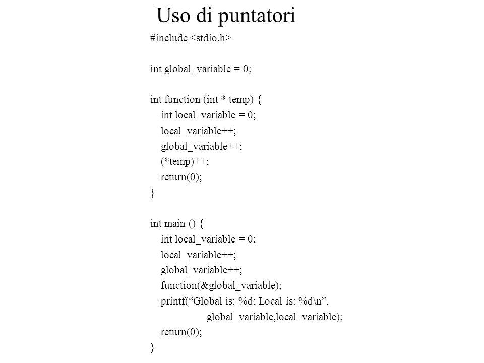 Uso di puntatori #include int global_variable = 0; int function (int * temp) { int local_variable = 0; local_variable++; global_variable++; (*temp)++;