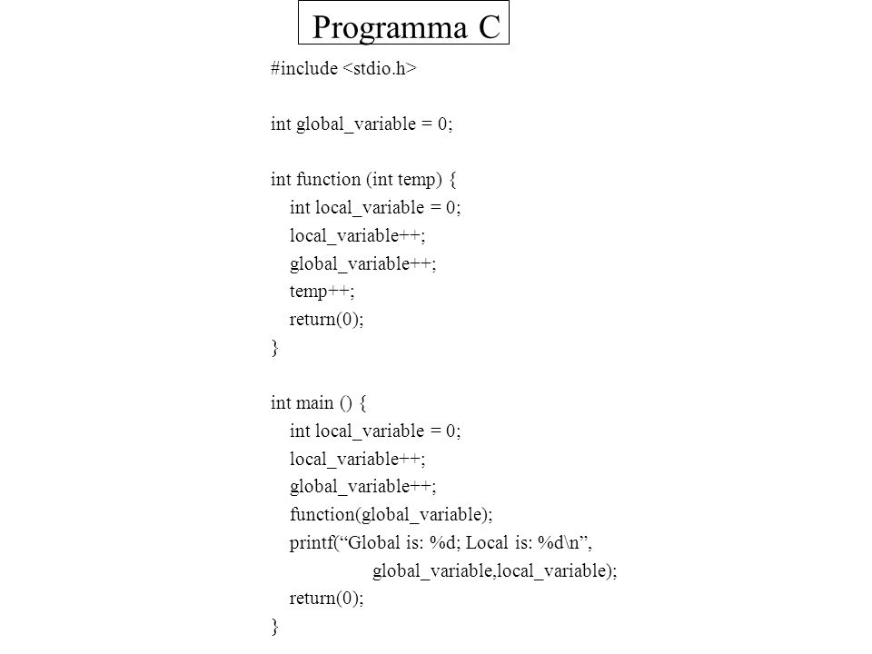 Struttura Programma C #include int global_variable = 0; int function (int temp) { int local_variable = 0; local_variable++; global_variable++; temp++; return(0); } int main () { int local_variable = 0; local_variable++; global_variable++; function(global_variable); printf(Global is: %d; Local is: %d\n, global_variable,local_variable); return(0); } Variabile Globale (visibile a tutti) Variabili Locali (visibili a una funzione) Stampa analogo a import