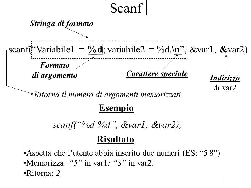 Scanf scanf(Variabile1 = %d; variabile2 = %d.\n, &var1, &var2) Carattere speciale Stringa di formato Formato di argomento Risultato Aspetta che lutent