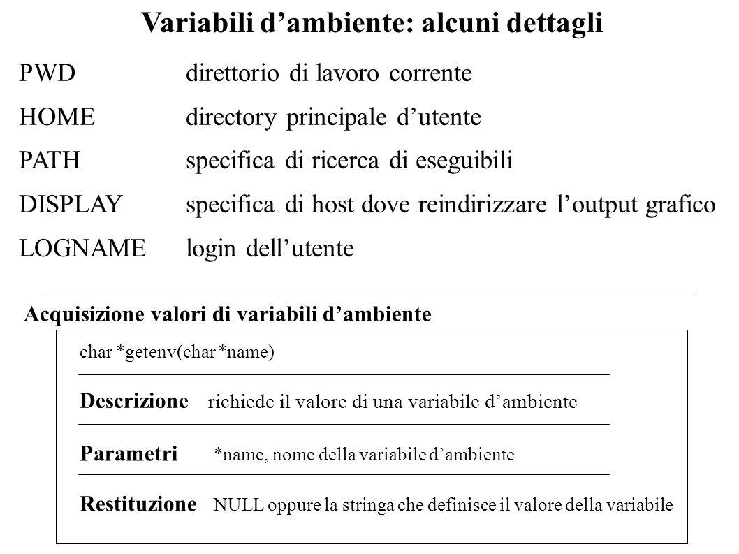 Variabili dambiente: alcuni dettagli PWDdirettorio di lavoro corrente HOME directory principale dutente PATH specifica di ricerca di eseguibili DISPLA