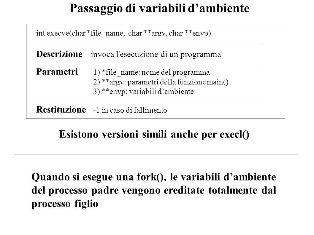 Passaggio di variabili dambiente int execve(char *file_name, char **argv, char **envp) Descrizione invoca l'esecuzione di un programma Restituzione -1