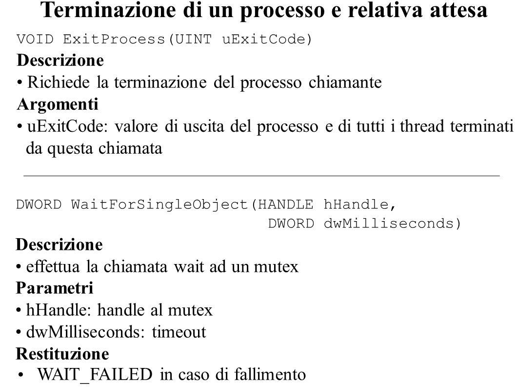 Terminazione di un processo e relativa attesa DWORD WaitForSingleObject(HANDLE hHandle, DWORD dwMilliseconds) Descrizione effettua la chiamata wait ad