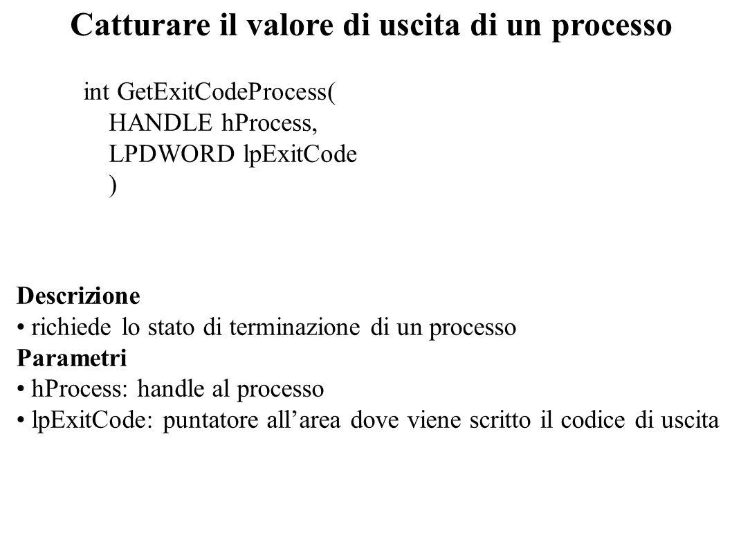 Catturare il valore di uscita di un processo int GetExitCodeProcess( HANDLE hProcess, LPDWORD lpExitCode ) Descrizione richiede lo stato di terminazio