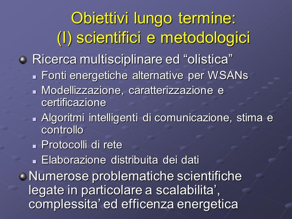 Obiettivi lungo termine: (I) scientifici e metodologici Ricerca multisciplinare ed olistica Ricerca multisciplinare ed olistica Fonti energetiche alte