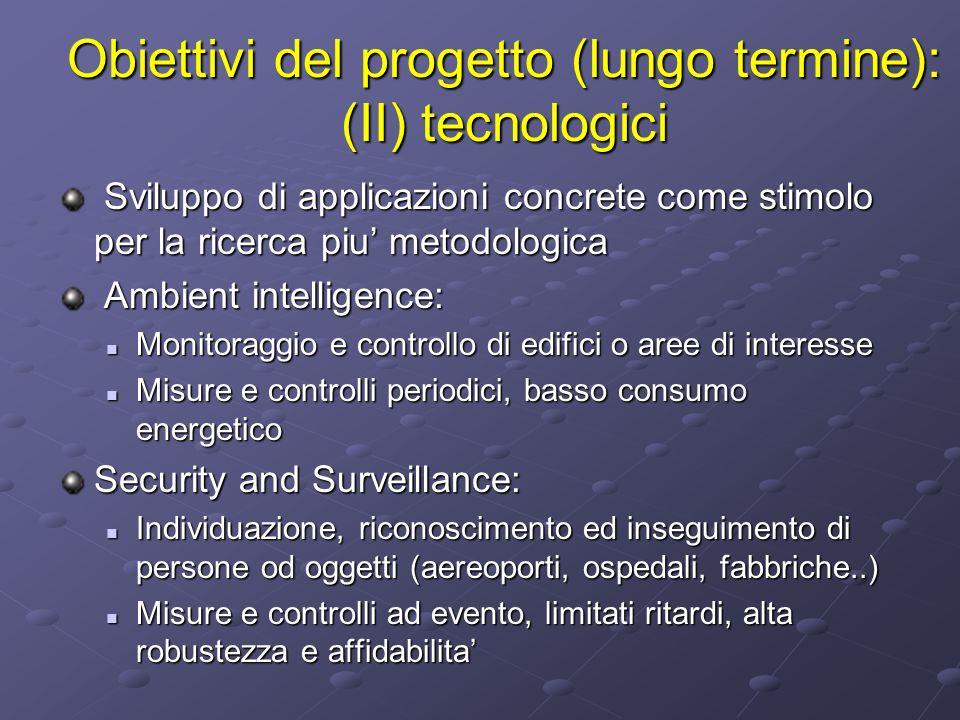 Obiettivi del progetto (lungo termine): (II) tecnologici Sviluppo di applicazioni concrete come stimolo per la ricerca piu metodologica Sviluppo di ap