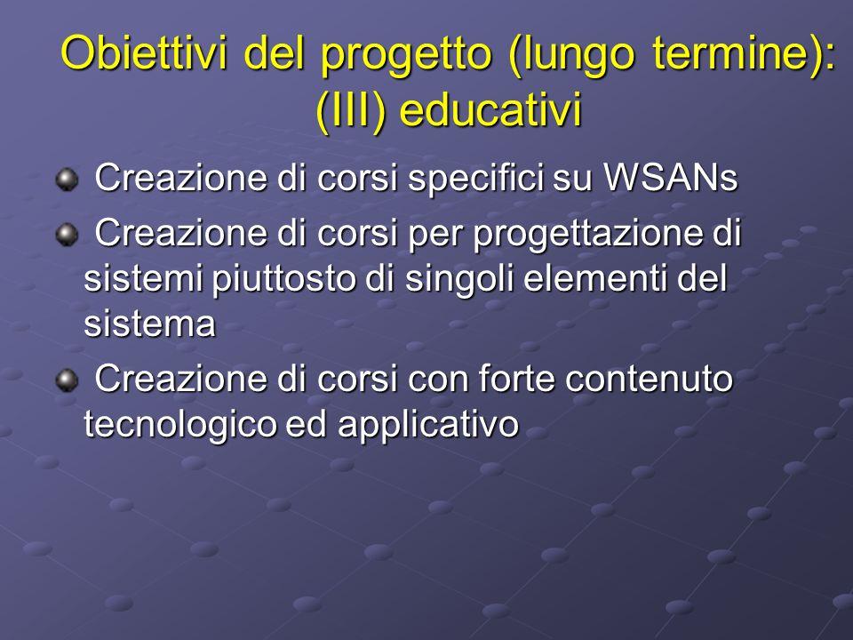 Obiettivi del progetto (lungo termine): (III) educativi Creazione di corsi specifici su WSANs Creazione di corsi specifici su WSANs Creazione di corsi