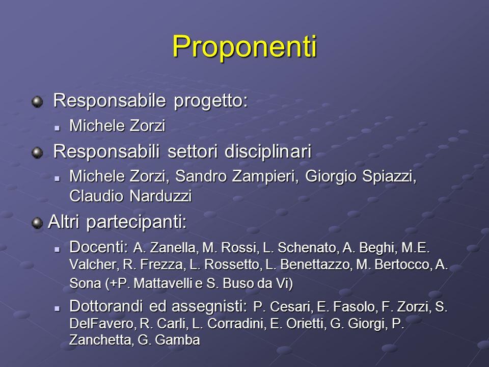 Proponenti Responsabile progetto: Responsabile progetto: Michele Zorzi Michele Zorzi Responsabili settori disciplinari Responsabili settori disciplina