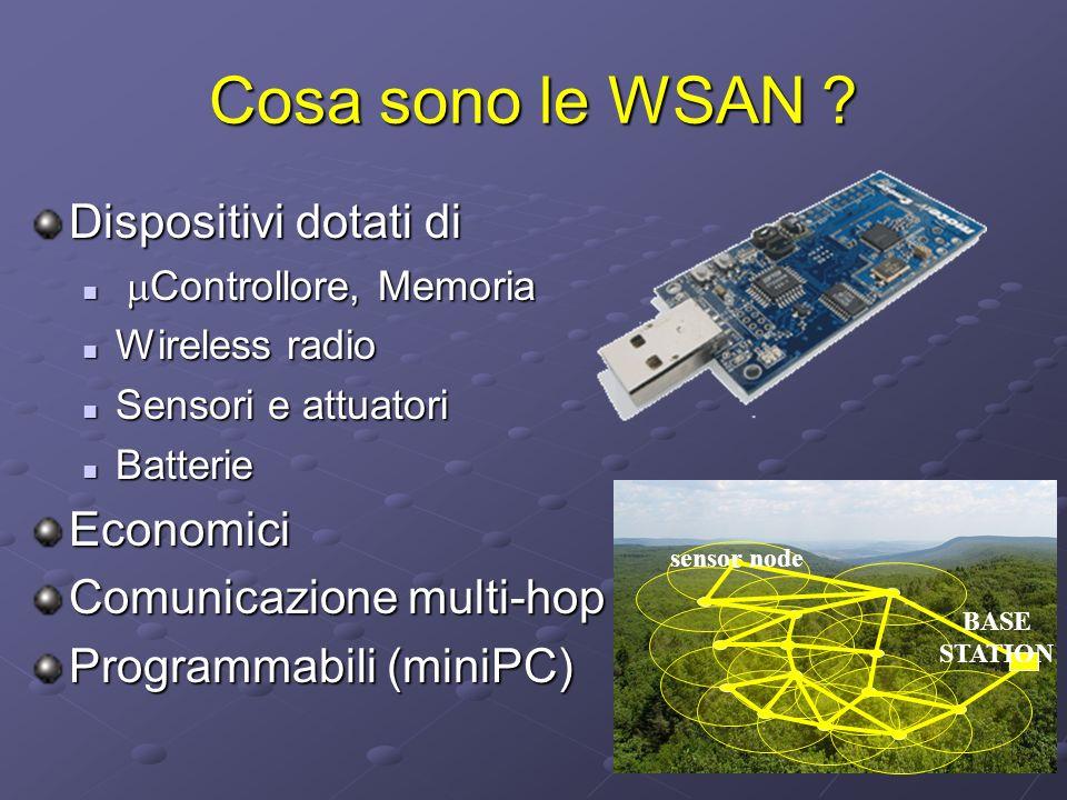 Cosa sono le WSAN ? Dispositivi dotati di Controllore, Memoria Controllore, Memoria Wireless radio Wireless radio Sensori e attuatori Sensori e attuat