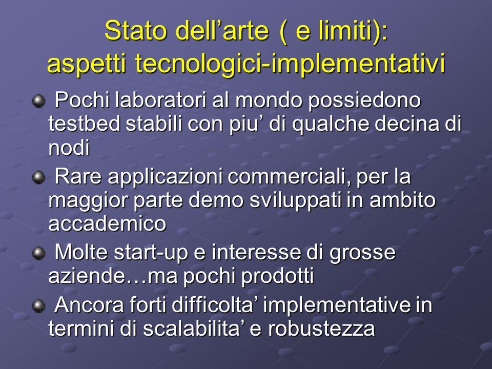 Stato dellarte ( e limiti): aspetti tecnologici-implementativi Pochi laboratori al mondo possiedono testbed stabili con piu di qualche decina di nodi