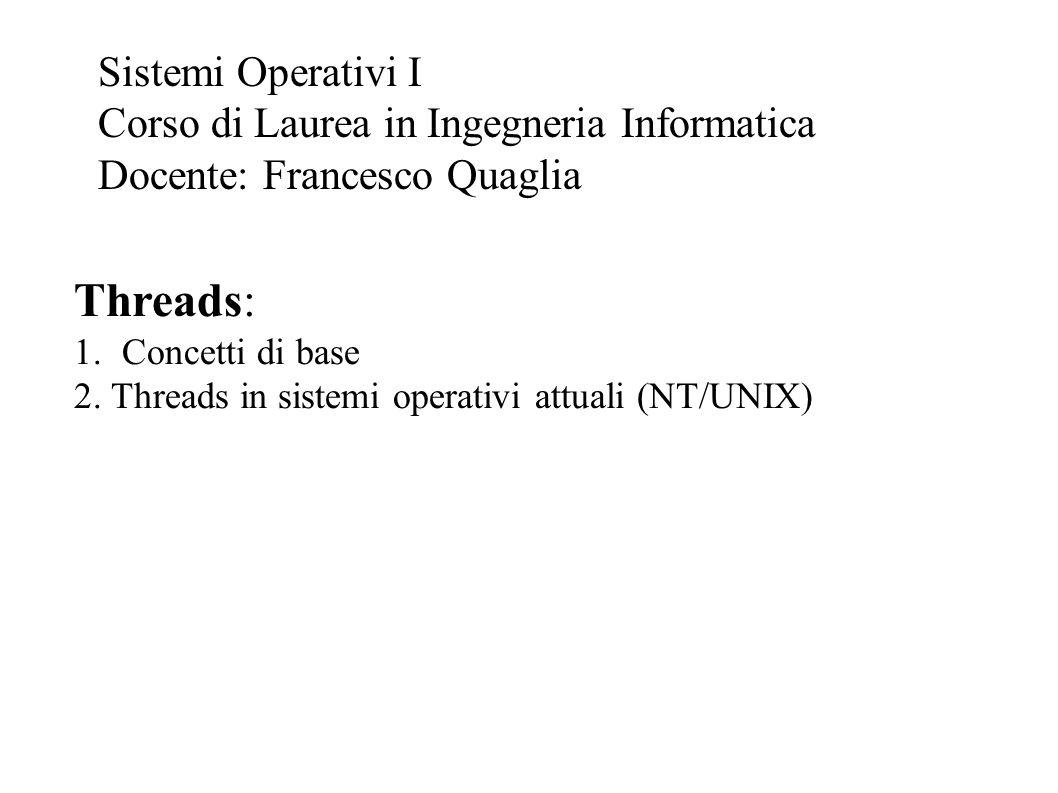 Threads: 1.Concetti di base 2. Threads in sistemi operativi attuali (NT/UNIX) Sistemi Operativi I Corso di Laurea in Ingegneria Informatica Docente: F