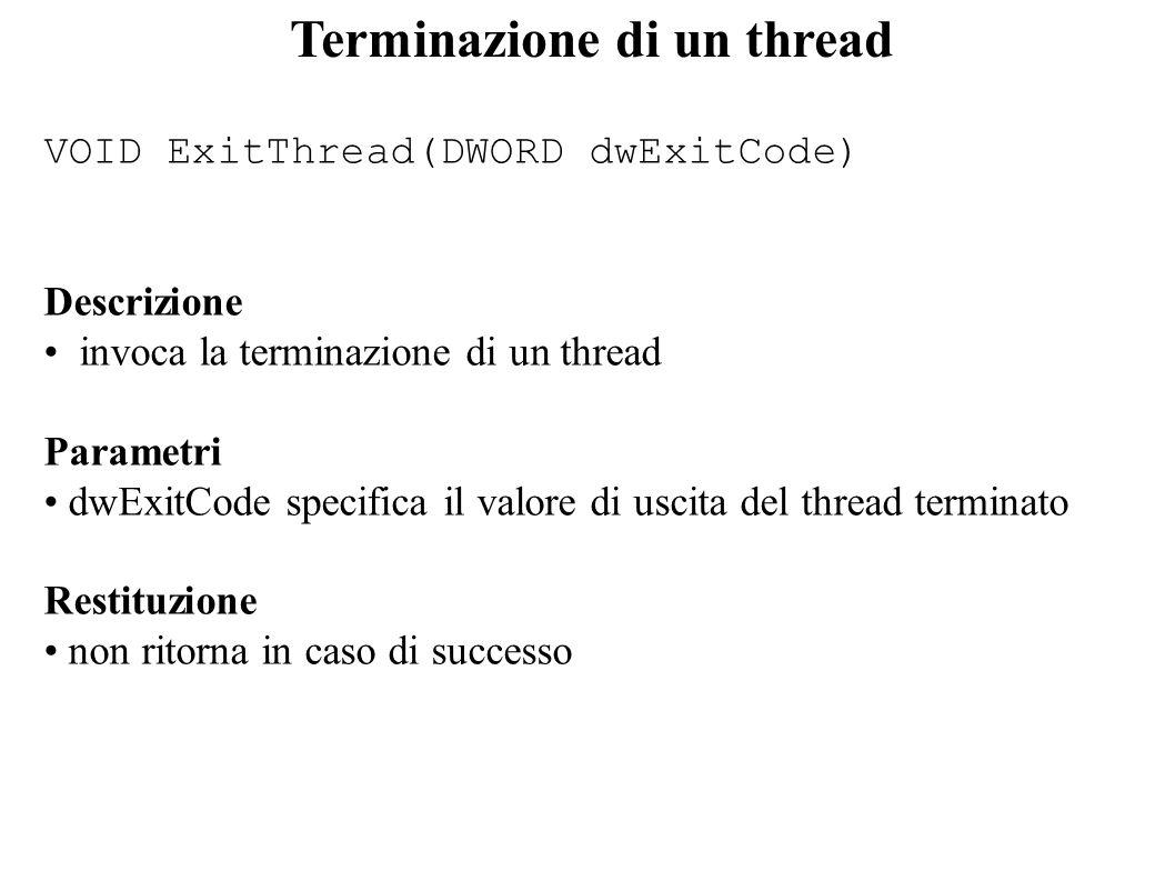 Terminazione di un thread VOID ExitThread(DWORD dwExitCode) Descrizione invoca la terminazione di un thread Parametri dwExitCode specifica il valore d