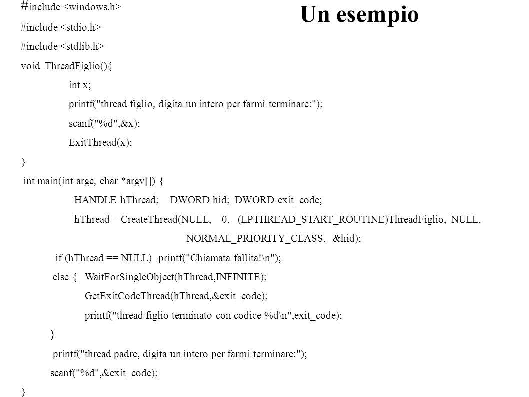 Un esempio # include void ThreadFiglio(){ int x; printf(